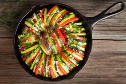 The image for DEMONSTRATION CHEF LISA'S, CAST IRON SKILLET RATATOUILLE, HASSELBACK POTATOES